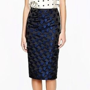 Jcrew Polka Dot Pencil Skirt Black Blue Sz 2 NWOT